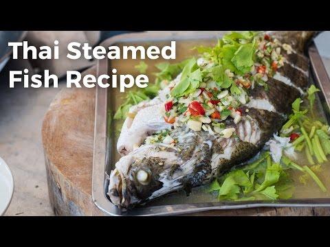 Thai Steamed Fish With Lime and Garlic Recipe (ปลากะพงนึ่งมะนาว)