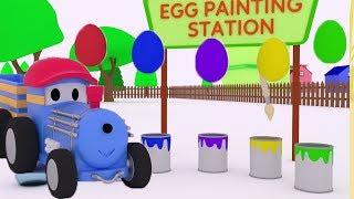 Ted maluje jajka wielkanocne ucz się o zwierzętach z cyrku z Tedem Lokomotywą