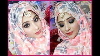 EASY EID MAKEUP TUTORIAL for girls || black & coral makeup + hijab tutorial || shy styles