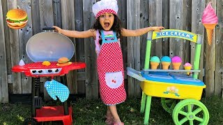 Kids Pretend Play with toys and Playhouse, ice cream cart and BBQ grill