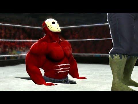 HULK VS RED HULK As Jason Voorhees - WWE Inferno FIRE Match