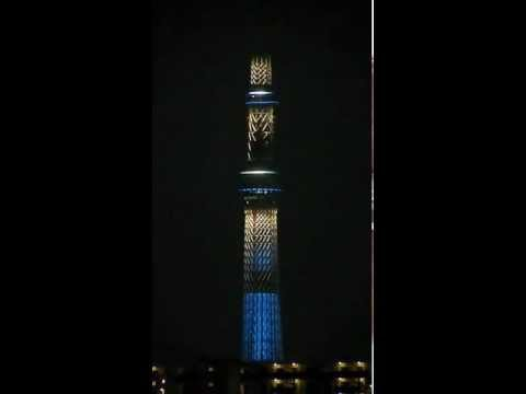 Sky Tree - Worlds tallest broadcasting tower - Tokyo, Japan at night. Video taken by Patrick Picotin