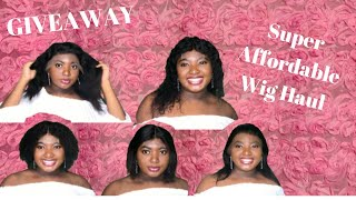 Super Affordable Human Hair Wig Haul GIVEAWAY( Free Wig) Ft Miss Enyoa