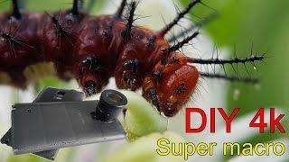 How to Make Macro DIY 4k video Smartphone Super macro Reviews. Lens Eyepiece stereo microscope.