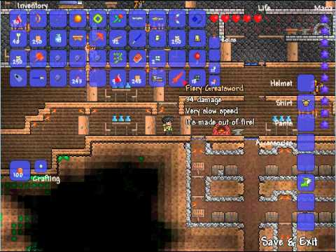 Terraria-Max Fall Damage with Max Defence and No Defence =D