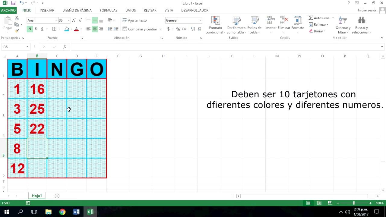 Como Crear Un Tarjeton De Bingo En Excel Youtube