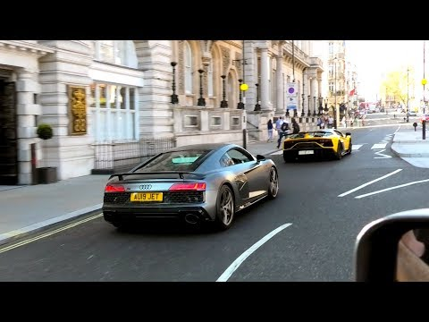 Limited Edition Audi R8 DECENNIUM and LAMBORGHINI Aventador SVJ Convoy Central London + TUNNEL RUN!