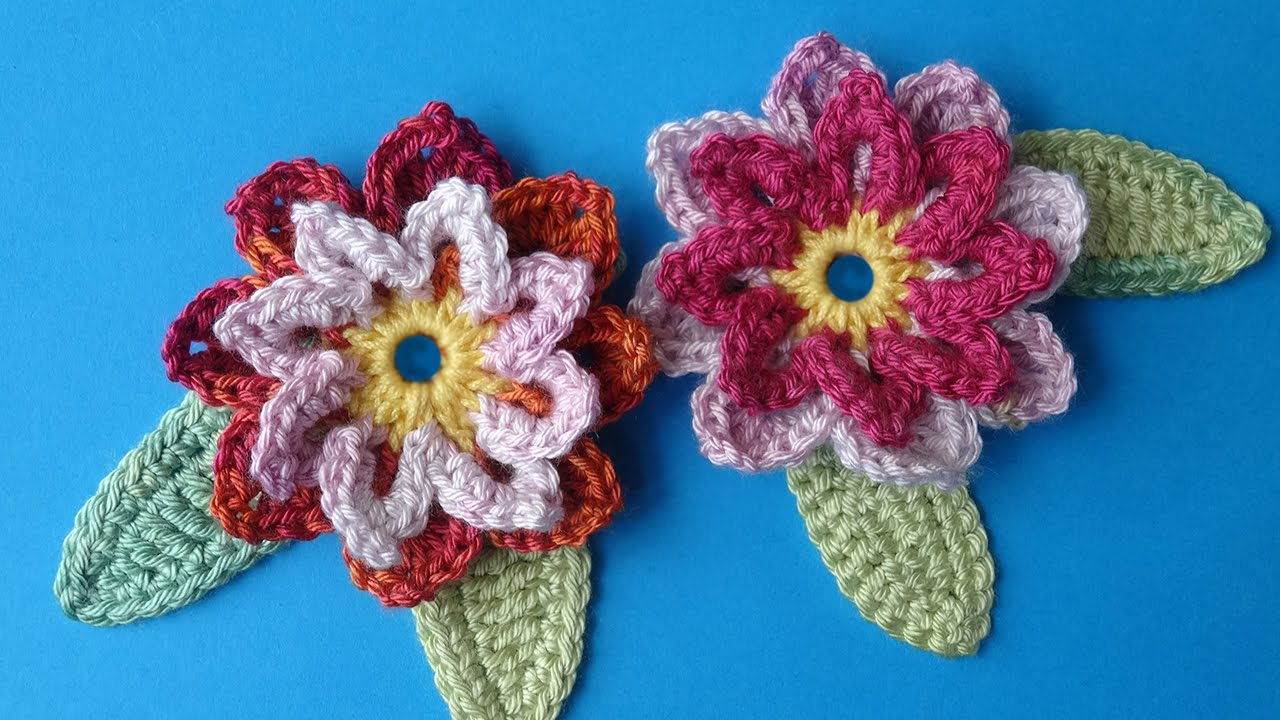 Crochet Flowers Patterns Youtube : Crochet flower 72 - free crochet flower pattern - YouTube
