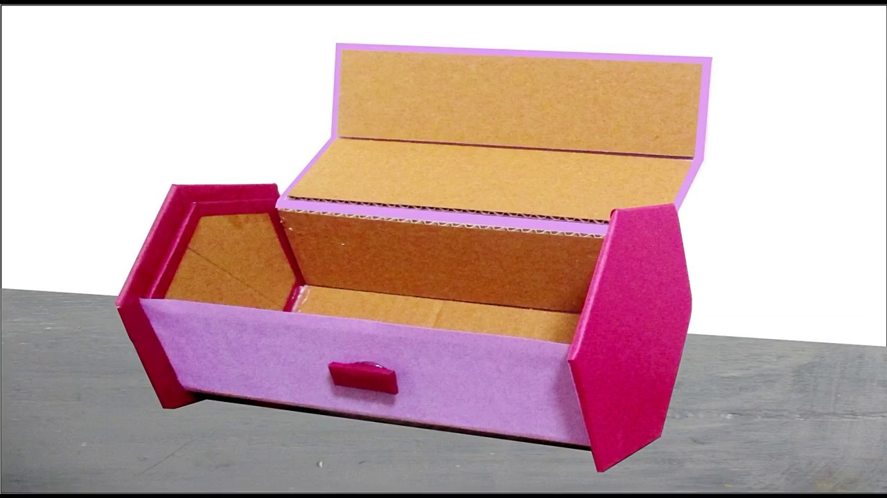 Best Out Of Waste Jewelry Box Using Cardboard Diy Crafts Youtube