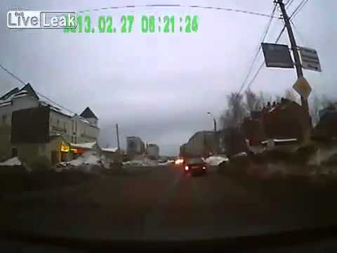 Russia. A car takes off. Dashcam video
