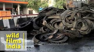 Truck Burns With Hundreds Of Rubber Tyres In New Delhi