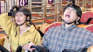 高所恐怖症で絶叫NGの二人が100の質問終わるまで止まらないジェットコースターで失神。