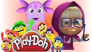 Маша и медведь Masha i medved Лунтик Play doh  становятся учеными    Luntik Frozen toys Disney