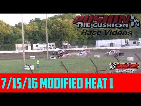 Lafayette County Speedway 7/15/16 Modifieds Heat 1