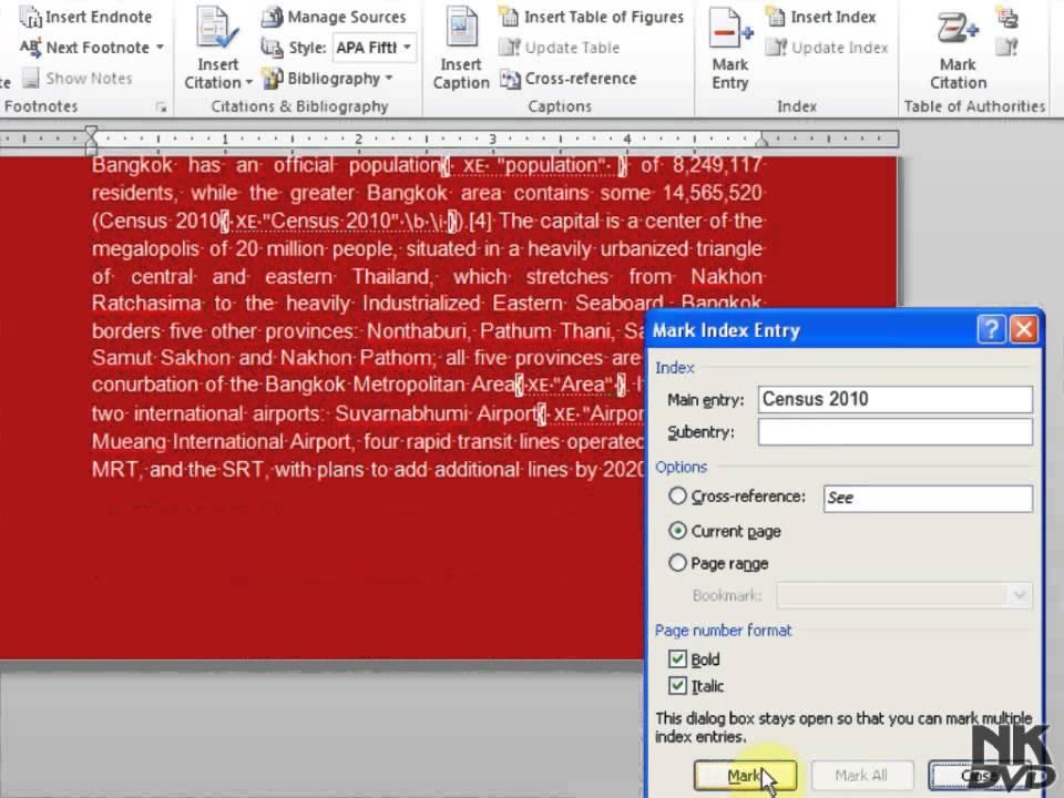 Lesson 88 Index Microsoft Office Word 2007 2010 Free Tutorial Urdu Hindi  Video Training taleem tv P