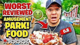 Eating At The WORST REVIEWED Amusement Park Restaurant!! (Under 1 Star Rated Food)