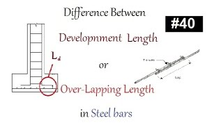 Difference between development length Ld or over lapping lengthin steel bar in Urdu Hindi