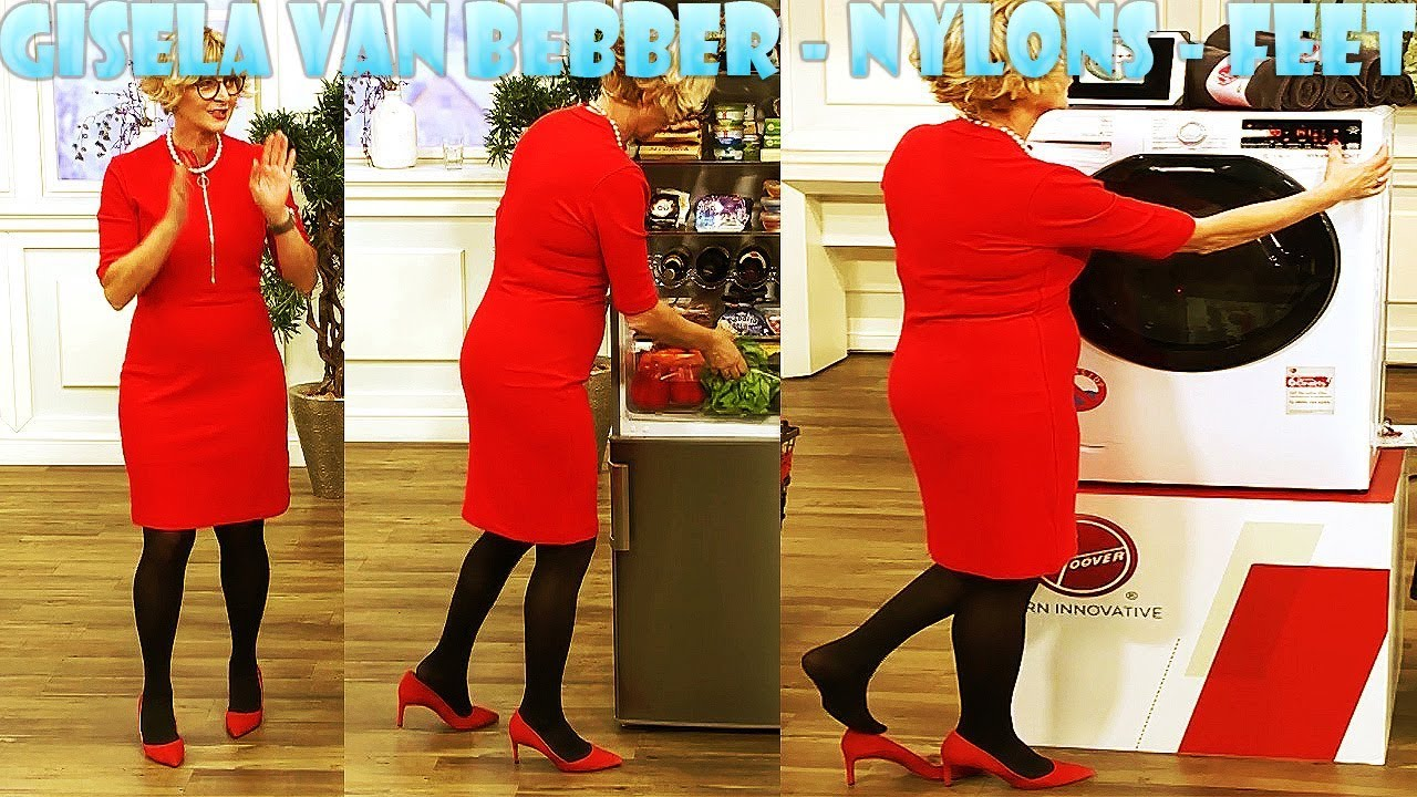 Nancy in Red Dress - Pantyhose Legs and Feet . QVC host wearing pantyhose with sexy slides QVC Lisa Mason Nylon Feet. by Lovely.
