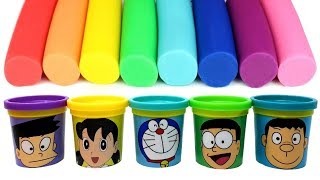 Download Doraemon(ドラえもん) Play Doh Molds & Can Heads Nobita Suneo Shizuka Takeshi Doraemon - Surprise Toys Mp3 and Videos
