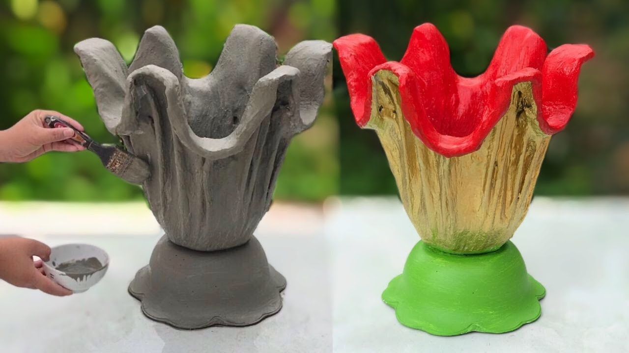 Ideas For Making Beautiful Flower Pots From Cement -  Unique To Make Pots Of Plants From Rags