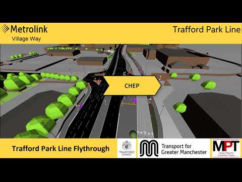 Trafford Park Metrolink line - flythrough