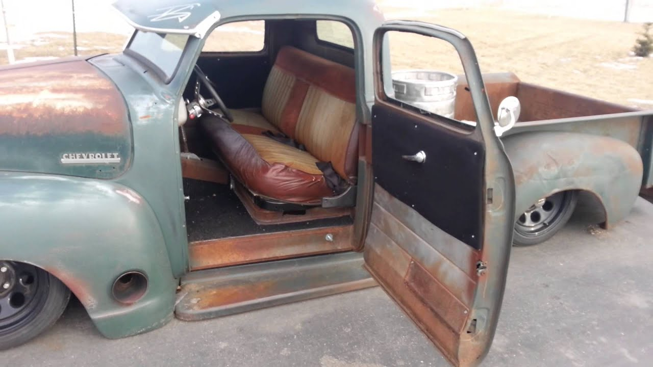 Bagged rat rod chopped 1950 chevy pickup truck air youtube for 1950 chevy truck door panel