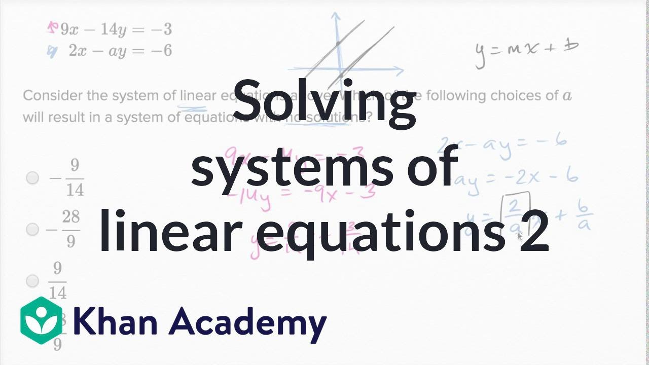 solving systems of linear equations — harder example | math | new