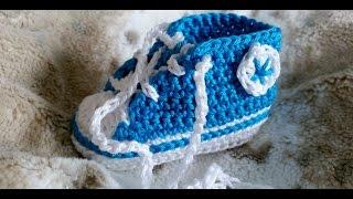 Repeat youtube video Sneakers para bebés - Tejer zapatillas de deporte – Parte 1/5 con subtítulos de BerlinCrochet