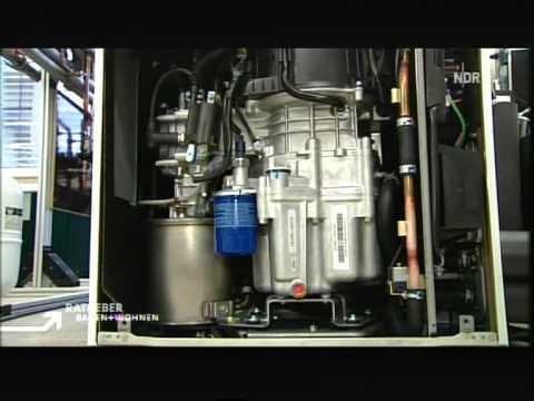 Energiewende Gas-Mini-Heizung-mit-Gasmotor mit der auch Strom gewonnen wird. 90% Wirkungsgrad