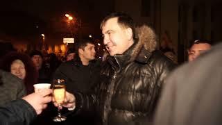 Саакашвили встретил Новый год в палаточном городке под Верховной Радой