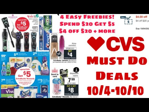 CVS MUST DO DEALS 10/4-10/10 EASY FREEBIES | SPEND $20 GET $5 & MORE!