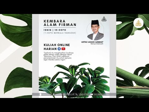 Kuliah Kembara Alam Firman [Ustaz Jazair Jummat] from YouTube · Duration:  45 minutes 23 seconds
