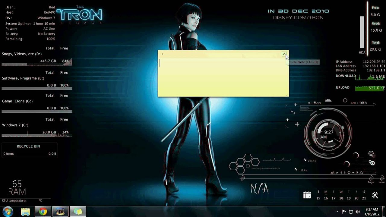 Rainmeter windows 7 youtube for Bureau windows 7 rainmeter