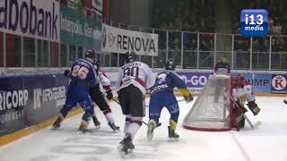 Ijshockey vechtpartij: Nick de Ruijter belaagd door 4 spelers van Hannover Scorpions.