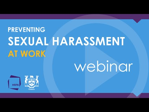 OHRC and HRPA webinar on preventing sexual harassment at work - July 7, 2015