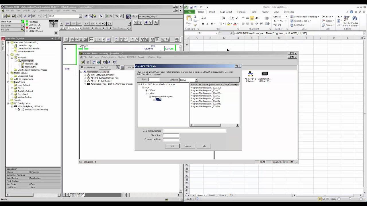 DDE/OPC RsLinx (Excel)
