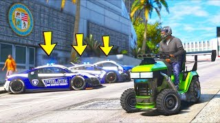 Can we escape Police Supercars in a LAWN MOWER?! (GTA 5 Mods - Evade Gameplay)