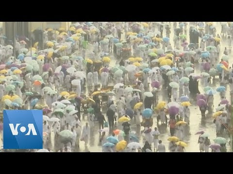 Rain Falls on Hajj Pilgrims on Mount Arafat