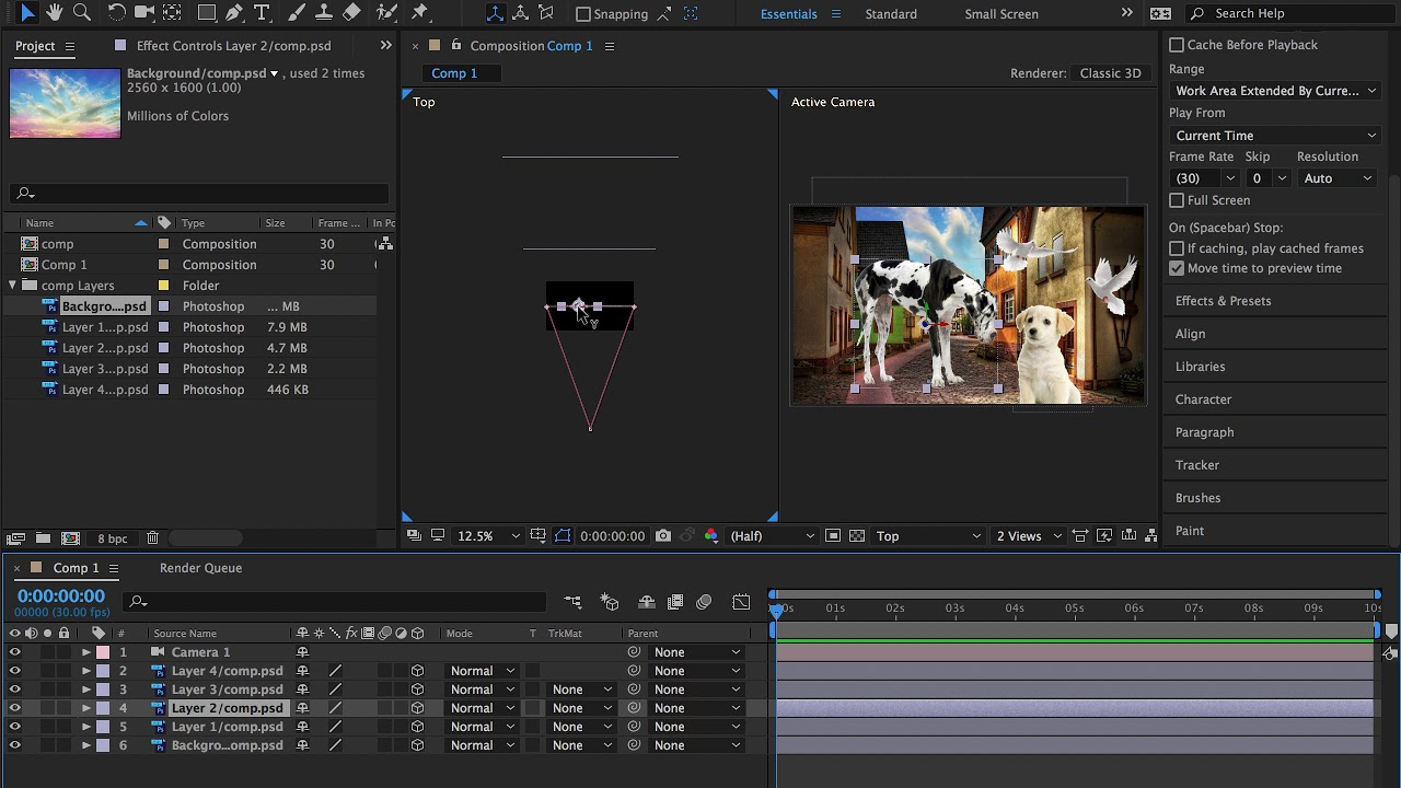create 3d camera move to turn 2d image into 3d animation in adobe after effects