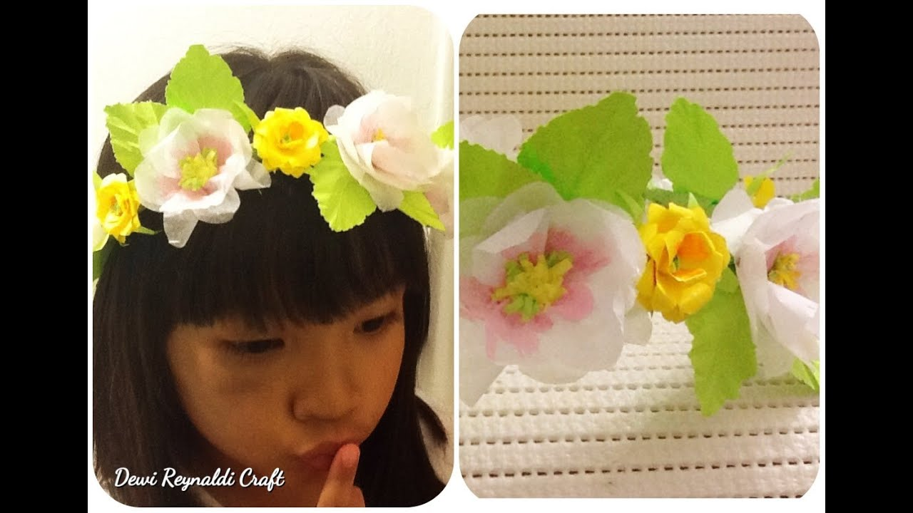 Diy How To Make Paper Flower Crown For Hair Accessories Wreath Pita Bando Bunga Bayi Headband Room Decoration Youtube