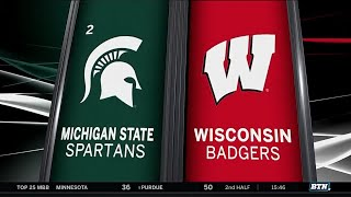 Michigan State at Wisconsin - Men's Basketball Highlights