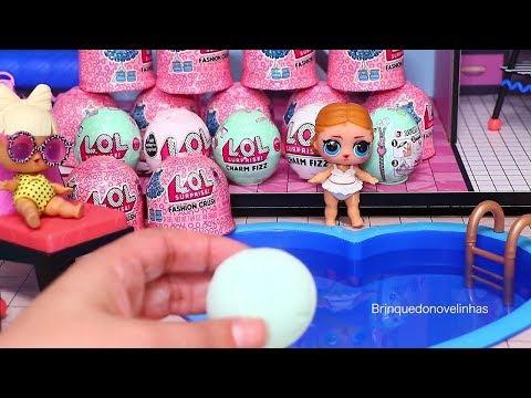 Festa Na Piscina Na Casinha de Boneca LOL e Ovos Surpresa -Brinquedonovelinhas