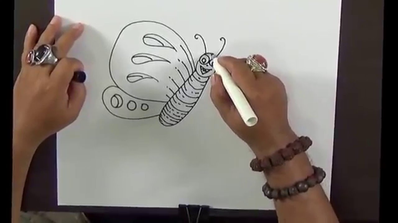 how to draw a butterfly and flower simple drawing for kids with