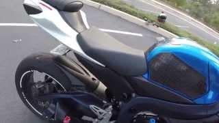 2011 GSX-R 750 M4 GP EXHAUST NO BAFFLE-CAT DELETE-MJS MID PIPE- ECU FLASH-DRIVE BY @ 6:50