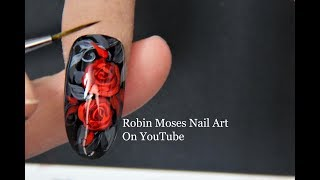 Red Roses Nail Art for Beginners   Hand Painted Rose Nails ROMANTIC
