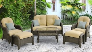 Hanover Newport 6 Piece Outdoor Wicker Lounge Set With Uv Treated Wicker And Fabric Resists Fading