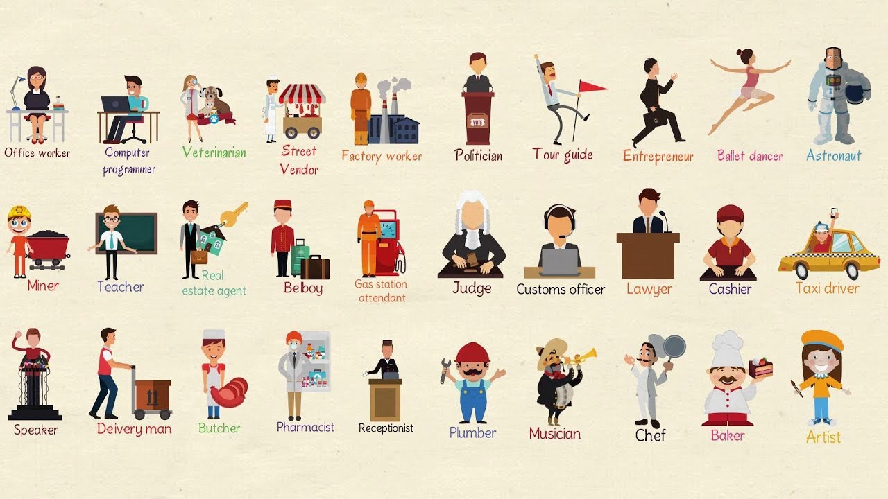 list of professions useful jobs vocabulary and job names