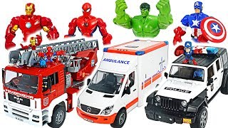 Bruder police car, fire truck, ambulance and Marvel Avengers Hulk! Go! #DuDuPopTOY