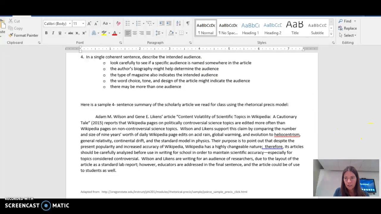 how to write a summary sentence