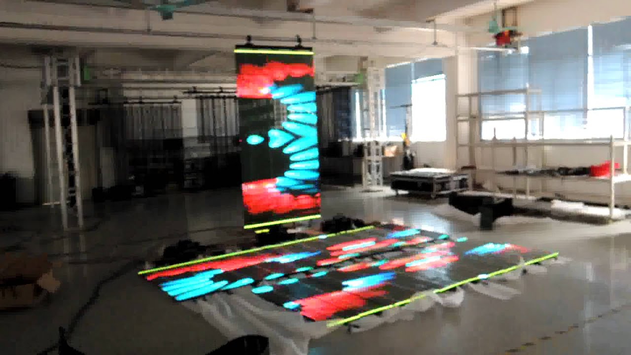 Transparent P10 Flexible Led Curtain Display Screen For Rental And